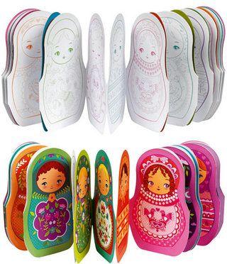 ACTIVITE - Guirlande de matryoshka à colorier - faire colorier des matryoshka à l'enfant et les accrocher ensemble avec du scotch/sur un ruban pour faire une guiirlande