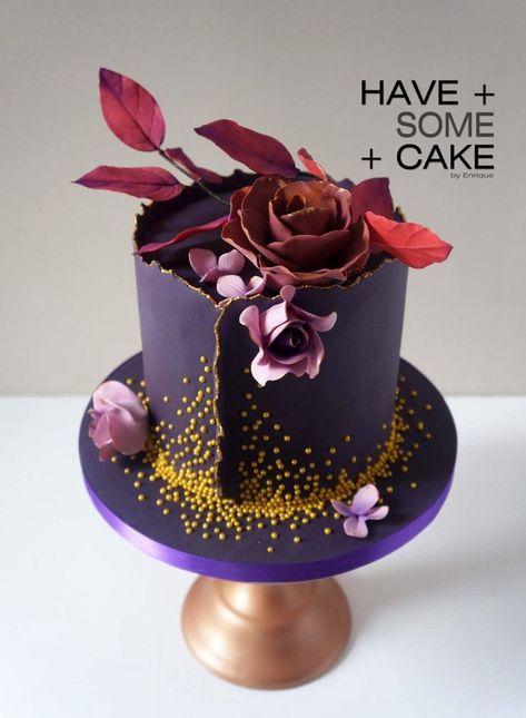Purple Single tier wedding cake - Торт с цветами - Wedding Cakes
