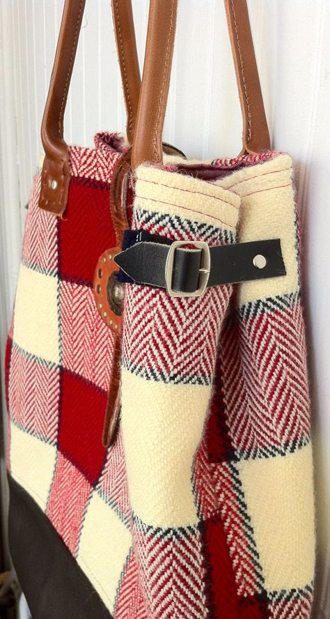 Upcycled Red Plaid Wool Blanket Tote by helenshandbags on Etsy