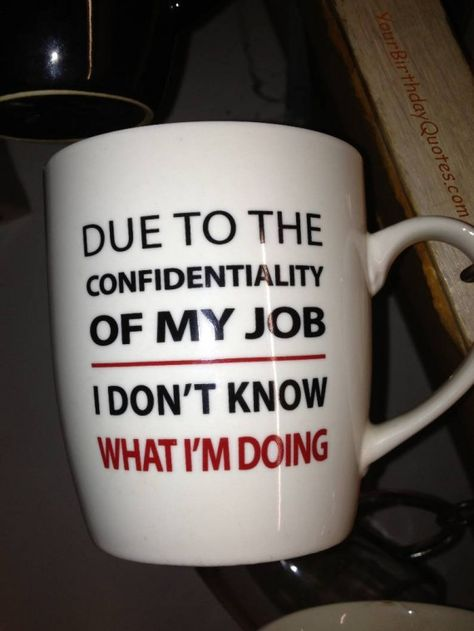"""""""Due to the confidentiality of My job... I don't know what I'm doing"""" - Funny humorous quotes"""