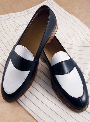 Handmade Men Navy Blue And White Leather Shoes Men Slip Ons Men Spectator Shoes Dress Formal White Leather Shoes Leather Shoes Men Spectator Shoes