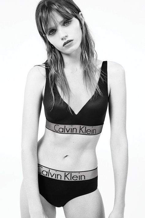 71bccadb669 Model Abbey Lee wears the new Customized Stretch micro plunge push up bra  and hipster from Calvin Klein Underwear.  mycalvins