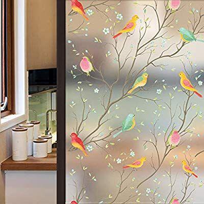 Amazon Com Coavas Privacy Window Film Opaque Non Adhesive Frosted Bird Window Film Decora In 2020 Window Film Privacy Stained Glass Window Film Decorative Window Film