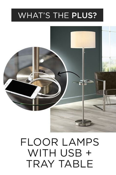 Tray Table Floor Lamps Plus USBs for Space Saving Style - Lamps Plus