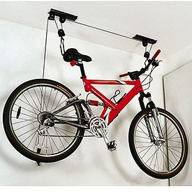 Hang your Bike from the Ceiling and Free up Valuable Floor or Wall Space! $24.92. Pulley system makes lifting and lowering your bike a breeze  Supports a single bike with a weight of up to 50 pounds  Works on ceilings up to 14 feet tall