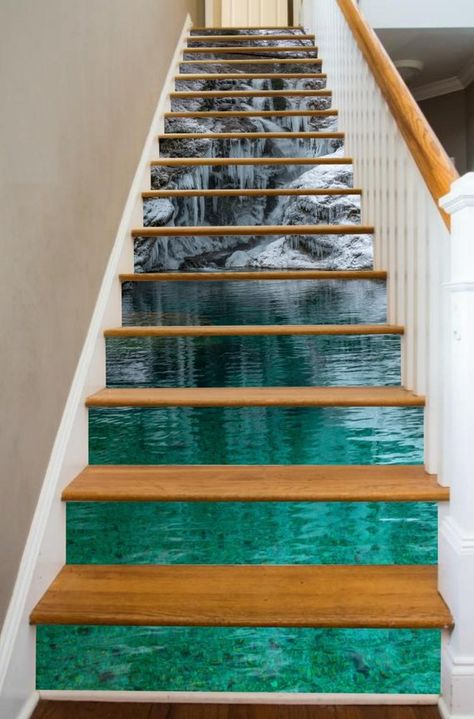 A beautiful winter scene brings out the magic of the season with RISERart!s Ice Pool, so deck your stairs out in this holiday delight! RISERart! makes it easy to make your stairway a seasonal celebration. We produce stunning, durable, artwork in sizes designed to fit your stairway, providing a