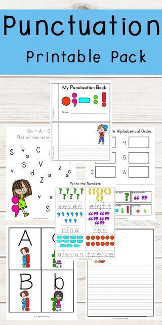 Punctuation Marks Printable Pack Kindergarten Worksheets Kids Worksheets Printables Punctuation Worksheets Punctuation worksheets for preschoolers