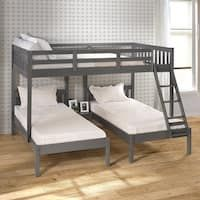Dark Grey Full over Double Twin Bunk Bed - Overstock - 31264116 Bunk Bed Rooms, Loft Bunk Beds, Bunk Beds With Storage, Bunk Bed With Trundle, Full Bunk Beds, Triple Trundle Bed, Triple Bunk Beds Plans, Queen Bunk Beds, Three Bed Bunk Beds