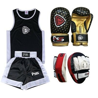 Kids boxing set 3 Pcs Uniform SET-16 Boxing Gloves 1010 Focus pad 1105