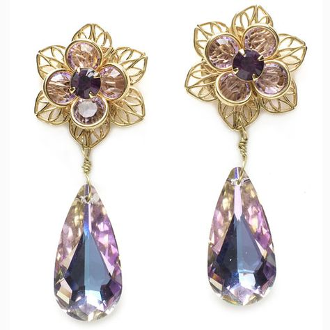 """February birthstone: Amethyst earrings"" by Monica Han for Bead Style magazine — downloadable project. BeadStyleMag.com"