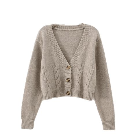 Women's Cable Knit Crop Cardigan - BurlyWood / S