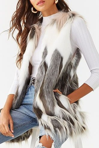New Look Longline Faux Fur Gilet-Chaleco Mujer