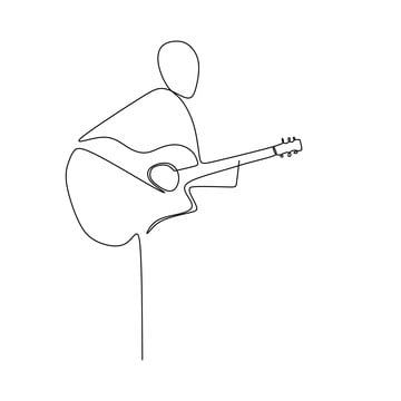 Person Sing A Song With Acoustic Jazz Guitar Continuous One Line Art Drawing Vector Illustration Minimalist Design Person Clipart Player Man Png And Vector W Line Art Abstract Line Art Minimalist