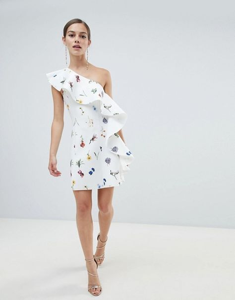 ASOS Petite   ASOS DESIGN Petite floral one shoulder ruffle a-line mini dress