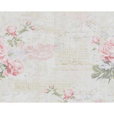 Papiertapete Djooz Blumentapete Weiß mit Rosen Landhaus Shabby Chic Romantisch