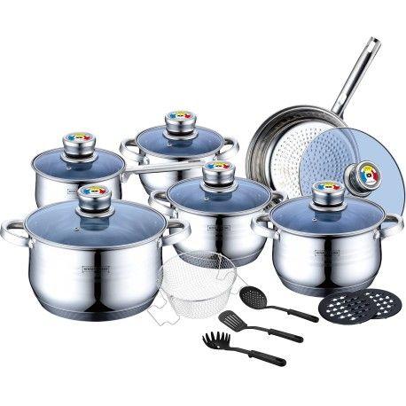 18 قطعه من اواني الطبخ سويسري Cookware 18 Pieces Royalty Line Switzerland Rl 1801b Royalty Line Cookware Sets Royalty