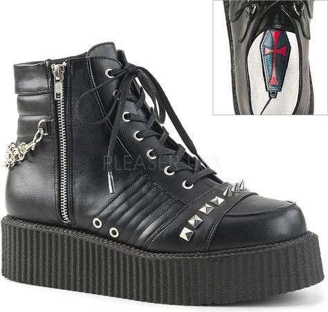 b9356c4ae27 Demonia Shoes - V-CREEPER-565 Black Vegan Leather | Shoes-heels ...