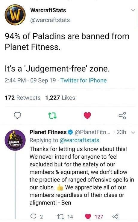 Rando Memes And Tweets 48 Funny Posts Paladin Warcraft Funny Planet Fitness Workout