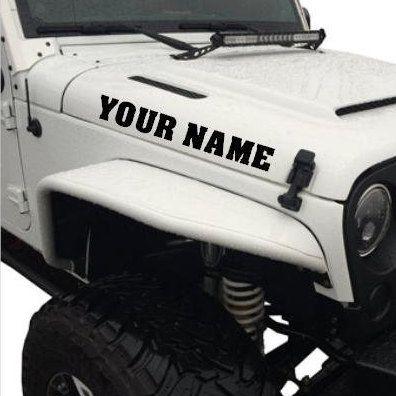 Custom Jeep Name Hood Decal Jeep Hood Decal Jeep Decal Jeep