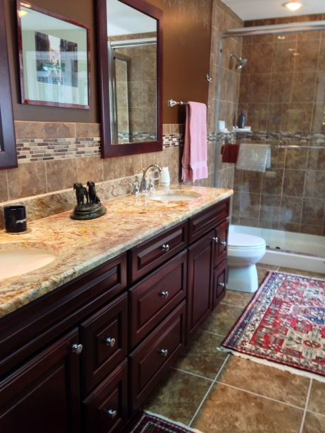 Master Bathroom Sienna Bordeaux Granite Countertops Yorktowne Cherry Br Granite Bathroom Countertops Bathroom Countertops Kitchen Countertops Granite Colors