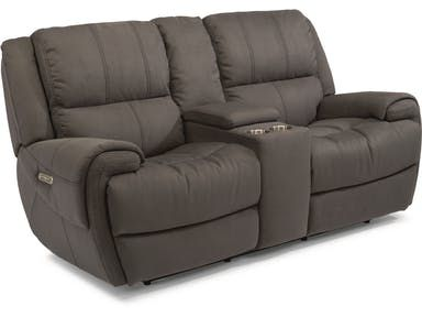 Flexsteel Fabric Power Reclining Loveseat With Console And Power Headrests 1178 64ph Love Seat Howell Furniture Power Reclining Sofa
