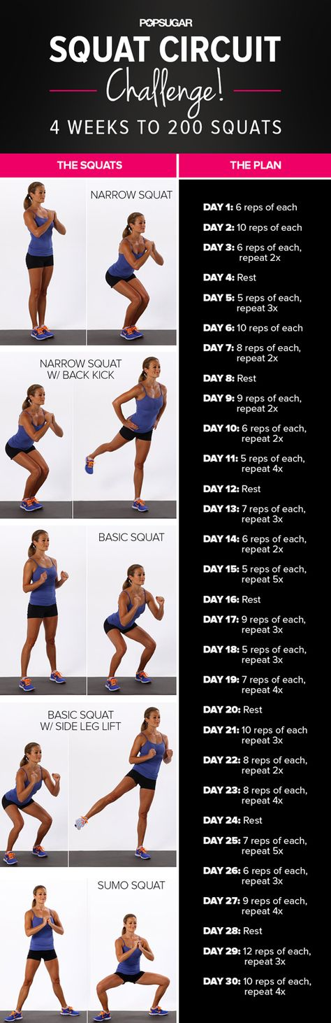 4 week challenge to 200 squats