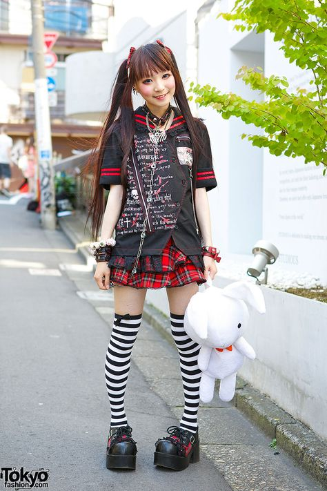 tokyo-fashion: Ringo on the street in Harajuku wearing a gothic outfit by h.Naoto with striped socks, Question Mark shoes, and a big bunny. We've been seeing Ringo around Harajuku quite a. Mode Harajuku, Harajuku Girls, Harajuku Fashion, Kawaii Fashion, Lolita Fashion, Cute Fashion, Harajuku Style, Tokyo Street Fashion, Tokyo Street Style