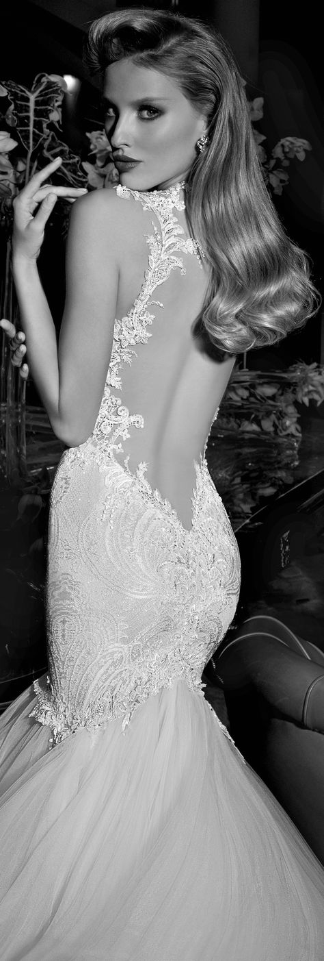 Wedding dress with lace details, tulle and open back