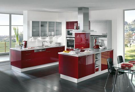 Cuisine rouge et harmonisée aux accents blancs - 30 idées Kitchens