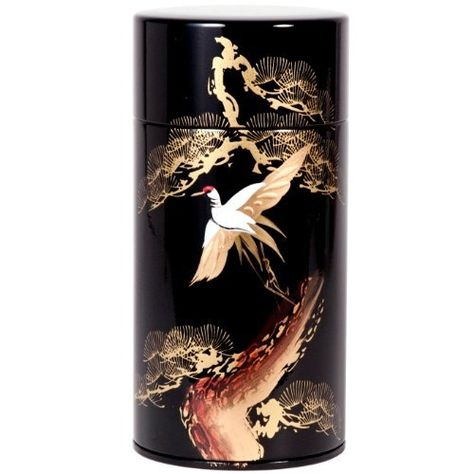 Black and Gold Crane Canister