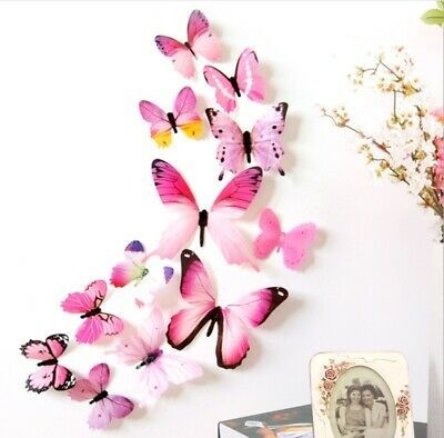Details About 12pcs Pvc 3d Butterfly Wall Decor Cute Butterflies Wall Stickers Art Decals In 2020 Butterfly Wall Decor Wall Stickers