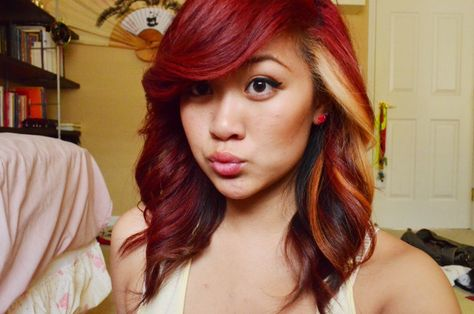 red and blonde ombre hair | Gorgeous red, brown and blonde hair color submitted through tumblr by ...