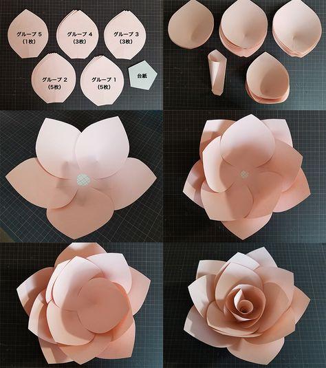 Paper Flower Patterns, Paper Flowers Craft, Paper Crafts Origami, Paper Flower Wall, Paper Flower Tutorial, Giant Paper Flowers, Flower Wall Decor, Cool Paper Crafts, Flower Crafts