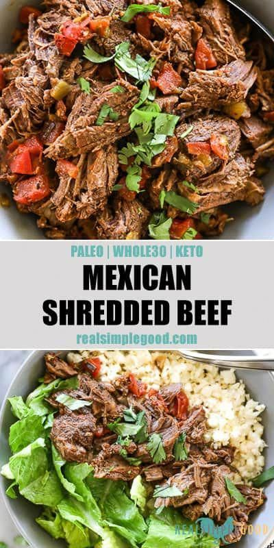 Mexican Shredded Beef Paleo Whole30 Keto Recipe Shredded Beef Recipes Mexican Food Recipes Authentic Mexican Shredded Beef