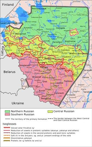Russian Language Main Dialects And Isoglosses Maps And The Like - Russian language map