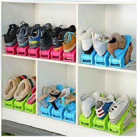 Shoe Slot Space Saving Organizer Shoe Shelf Rack Double Storage Holder Seen On Tv Multi Color 8 Pack In 2020 Space Saving Shoe Rack Shoe Storage Rack Under Bed Shoe Storage