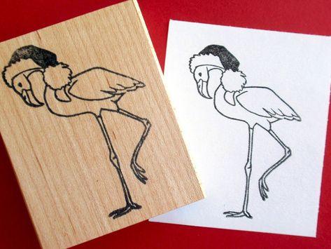 Bird in Party Hat J29905 WM Birthday Flamingo Rubber Stamp