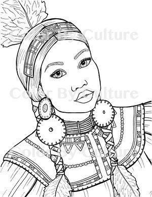 Comanche Woman Coloring Page Coloring Pages Adult Coloring