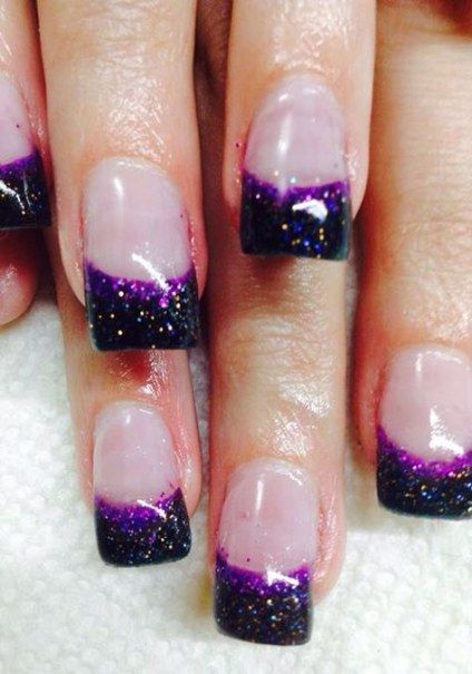 29 Ideas For Nails Purple Black French Tips Gel Nails French Black Nail Designs French Nail Designs