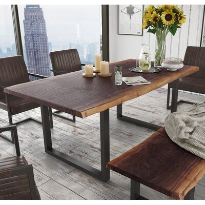 Union Rustic Lemay Dining Table Wayfair In 2020 Dining Table With Bench Wood Dining Room Table Live Edge Dining Table