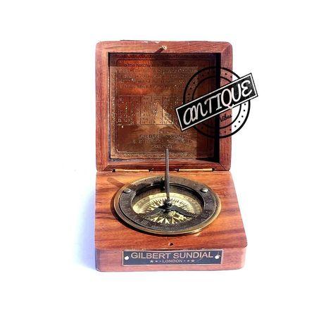 Halloween Desk Clock Sun Dial Compass Wooden Box Marines Gift