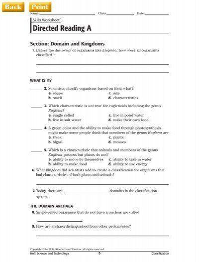 Domains And Kingdoms Worksheet Directed Reading A Kindergarten Subtraction Worksheets Simplifying Rational Expressions Kindergarten Math Worksheets Free