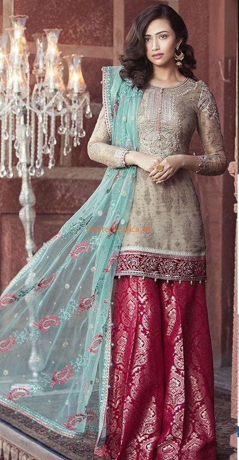 Maria B Mbroidered Eid Collection, moonlight and sea green, women clothing, shalwar kameez