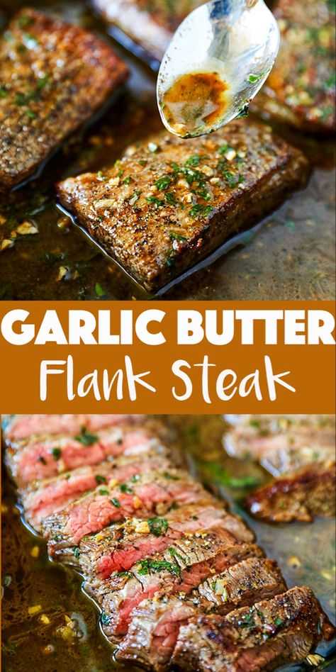 This Flank Steak Oven Recipe is so easy and perfect for busy weeknights. An affordable flank steak is portioned and cooked quickly in a traditional cast iron pan and elevated to restaurant quality with a quick and delicious garlic butter sauce. Flank Steak Tacos, Rinder Steak, Flank Steak In Oven, Steak In Pan, Steak In A Skillet, Steaks, Cast Iron Flank Steak, Marinade For Steak, Hanger Steak