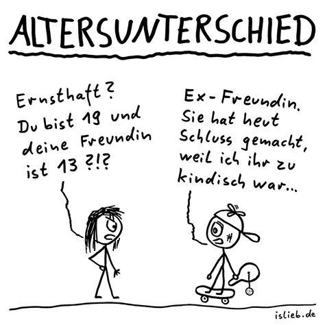Altersunterschied (Strichmännchen-Cartoon) - islieb.de | Freundin, erste Liebe, Trennung, kindisch, #islieb