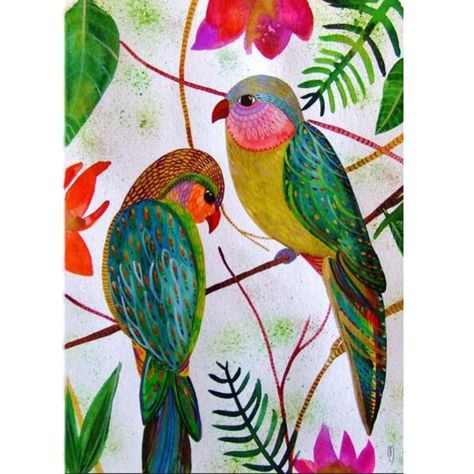 """Full Square/Round Diamond 5D DIY Diamond Coated Diamond Embroidered """"Two Birds"""" Cross - Pricearchive.org"""