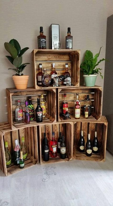 Geflammte Weinkisten, perfekt als Grundlage für die Hausbar / use wooden boxes . Flamed wine boxes, perfect as a basis for the home bar / use wooden boxes to build your own bar made by fruit boxes v Diy Bar, Diy Home Bar, Bars For Home, Diy Home Decor, Build Your Own Bar, Palette Diy, Pallet Bar, Diy Pallet Projects, Black Decor
