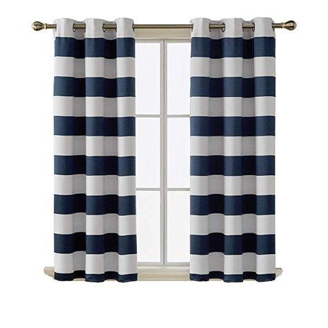 Deconovo Navy Striped Blackout Curtains With Grommet Top Navy And