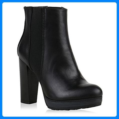 Damen Plateau Boots Klassische Stiefeletten Block Absatz Schuhe 121948 Schwarz 4 Stiefeletten Damenschuhe