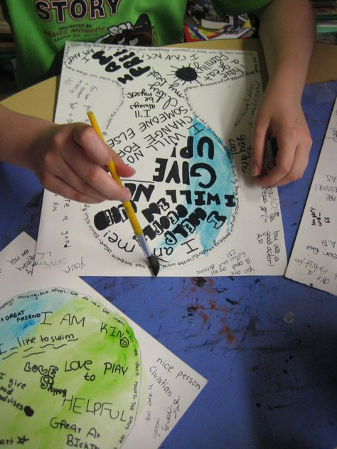 Self Esteem Portraits - this would be a great music and mixed arts project for teens/adolescents/adults